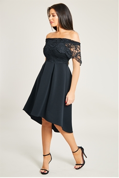 Sistaglam Loves Jessica Wright Liah petite Black Lace Bodice Bardot High Low Skater Dress