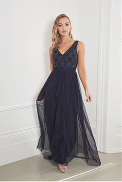 Sistaglam Noelle navy embroidered chiffon skirt maxi dress