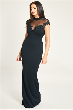 Jessica Wright Bria Black Mesh Maxi Dress