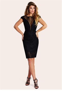 Sistaglam Lizzy Black Bonded Lace Midi Dress