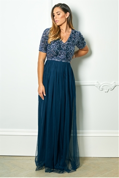 Sistaglam Special Edition Jessica Rose Liziane navy sequin short sleeve maxi dress
