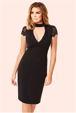 Jessica Wright Caggy Black High Neck Cut Out Lace Detail Dress