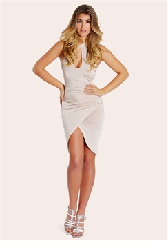 Sistaglam Jaz Nude High Neck Ruched Slinky Dress