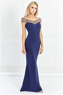 Sistaglam Milliana Navy Off The Shoulder Maxi Dress