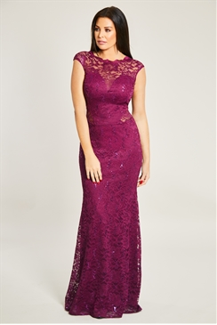 Jessica Wright  Berry Sequin Lace Maxi Dress