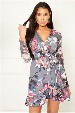 Sstaglam Loves Jessica Wright Aeesha multi floral print frill wrap dress with belt tie and chiffon sleeve