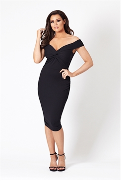 Jessica Wright Carolina Bardot Black Bodycon Dress