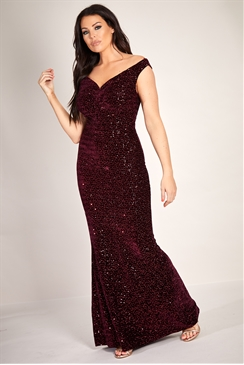 Sistaglam Loves Jessica Wright Netty burgundy/wine velvet glitter lurex stretch bardot maxi dress