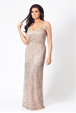 Jessica Wright Clementina Nude Embroidered Mesh Overlay Maxi Dress