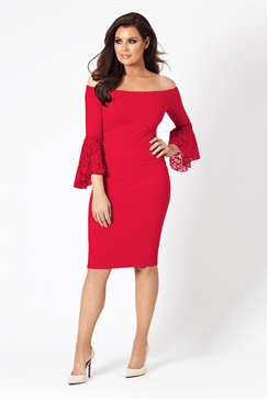 Jessica Wright Zazie Red Off The Shoulder Lace Bodycon Dress With Bell Sleeves
