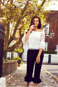 Jessica Wright White Gigi Lace Bardot Top