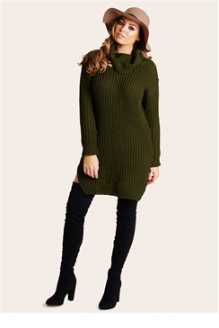 Jessica Wright Naya Khaki Knit Jumper dress