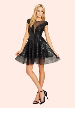Sistaglam Adina Black Sequin Prom Dress