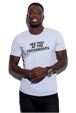 Sistaglam Marcel Grey 'See You At The Crossroads' Cotton T-shirt