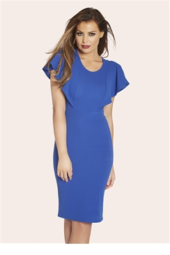 Jessica Wright Felicity Blue Frill Midi Dress