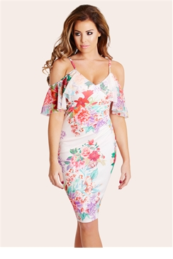 Jessica Wright Darcy Cream Floral Spaghetti Strapped Midi Dress