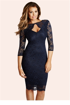 Jessica Wright Delaney Navy Lace Keyhole Dress