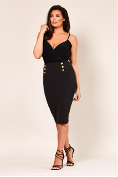 Jessica Wright Haidan Black Pencil Skirt With Gold Button Waist Detail