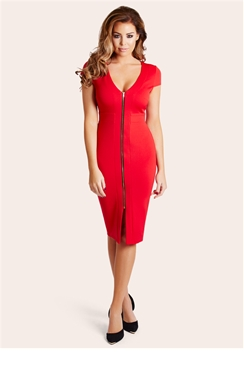 Jessica Wright Kate Red Zip Front Bodycon Dress