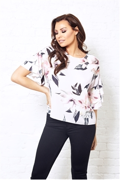 Jessica Wright Floral Print Frill Sleeve Eva Top