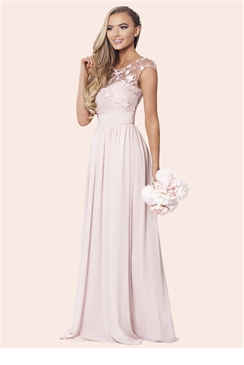 Sistaglam Beverley Rose Pink Lace Bridesmaid Maxi Dress
