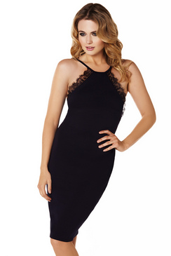 SISTAGLAM ARELIE STRAPLESS LACE TRIM NAVY DRESS