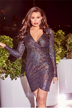 Jessica Wright Bruni Gunmetal Textured Metallic Glitter Wrap Bodycon Dress With Shoulder Pads
