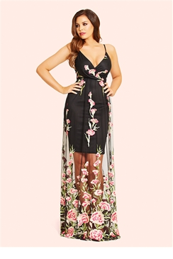 Jessica Wright Saphia Floral Embroidered Maxi Dress