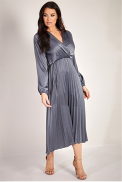 Sistaglam Loves Jessica Wright Cynthia Grey charcoal pleated midi satin dress