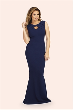 Jessica Wright Krissie Navy Scoop Neck Pleated Keyhole Maxi Dress
