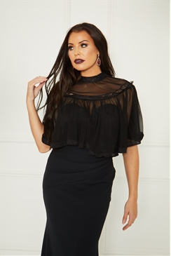 Sistaglam Loves Jessica Wright  Karolise black lace cape