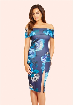 Jessica Wright Adiya Black Floral Print Bardot Wrap Bodycon Dress