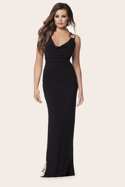 Jessica Wright Audrey Black Cowl Neck Gold Ring Detailing Maxi Dress