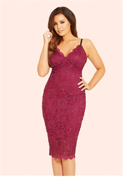 Jessica Wright Hadley Berry Scalloped Sequin Lace Bodycon Dress