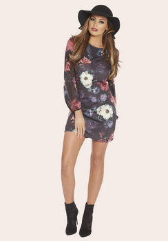 Jessica Wright Maria Floral Print Scoop Neck Shift Dress