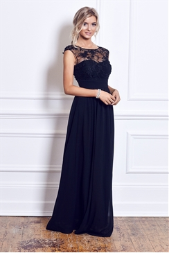 Sistaglam Beverley Black Embellished Maxi Dress