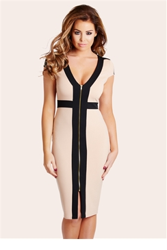 Jessica Wright Katie Nude & Black Zip Front Bodycon Dress