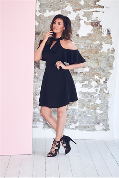 Jessica Wright Black Cold Shoulder Joey Skater Dress