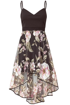 Sistaglam Agatta multi strappy midi dress high low floral chiffon skirt
