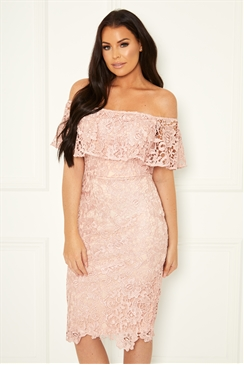 Sistaglam Loves Jessica Wright Juliney pink bardot crochet wax lace dress