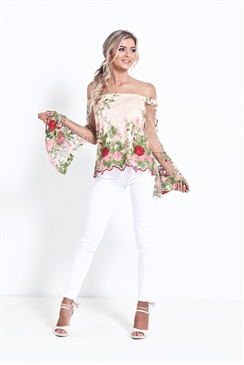 Sistaglam Moana Multicolour Sheer Embroidered Floral Top