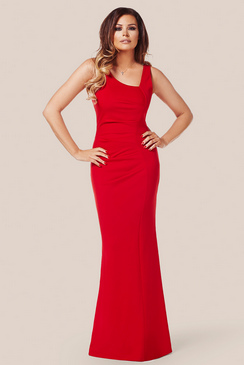JESSICA WRIGHT VERONICA RUCHED MAXI DRESS