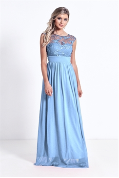 Sistaglam Beverley powder Blue Lace Bridesmaid Maxi Dress
