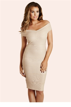 Jessica Wright Ava Cream Shimmer Bodycon Dress