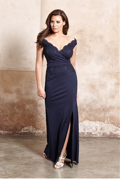Jessica Wright Shayda Navy Sequin Lace Bodycon Maxi Dress