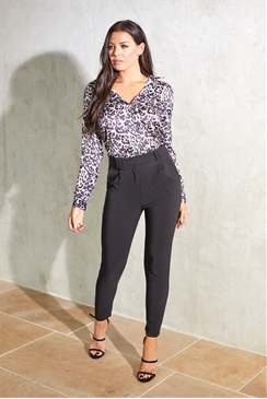 Jessica Wright Edie satin animal print blouse with lace back insert
