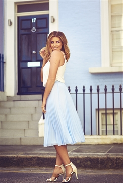 Jessica Wright Leora Pale Blue Pleated Midi Skirt