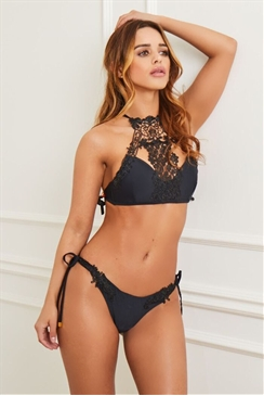 Sistaglam Ashley black lace trim high neck bikini set