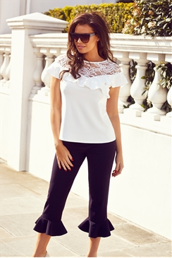 Jessica Wright Beth White Lace Frill Top