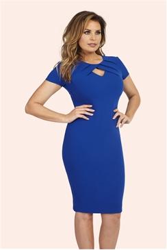 Jessica Wright Cathy Blue Pleated Keyhole Bodycon Dress